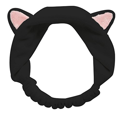 GIANCOMICS Cute Cat Ears Headband Soft Stretch Spa Facial Makeup Wrap Headband for Women Girl Cosmetic Hairband Sport Headwear Cosplay Prop Black -