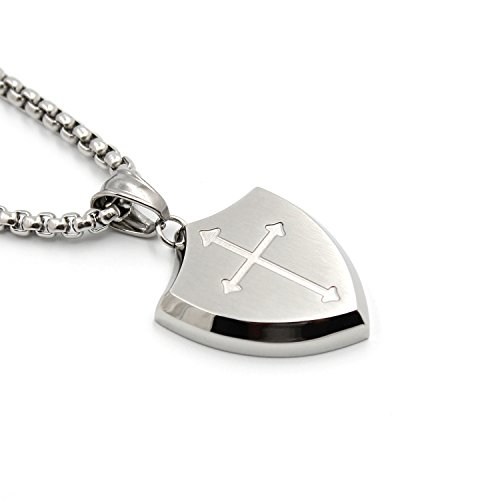Lemu Jewelry Mens Shield Armor of God Joshua 1:9b,Faith Cross Stainless Steel Pendant Necklace ()