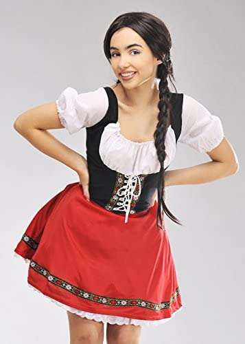 Traje bávaro Rojo Estilo Heidi para Mujer Medium (UK 12-14 ...