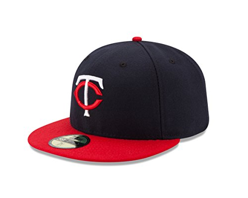 MLB Minnesota Twins Road Youth AC On Field 59Fifty Fitted Cap, Navy, 6 3/4