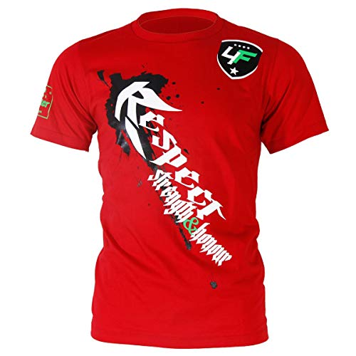 tambi roja Honor respeto and con blanco Strength camiseta de 4fighter y estampado fuerza honor UqO4pTxw5