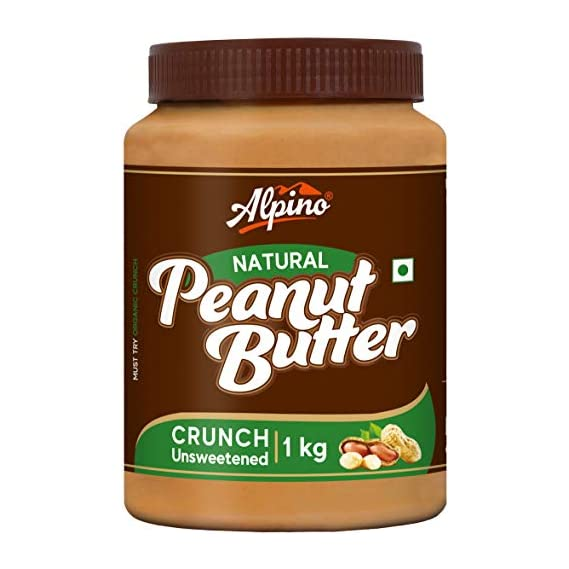 Alpino Natural Peanut Butter Crunch 1 KG | Unsweetened | Made with 100% Roasted Peanuts | No Added Sugar | No Added Salt