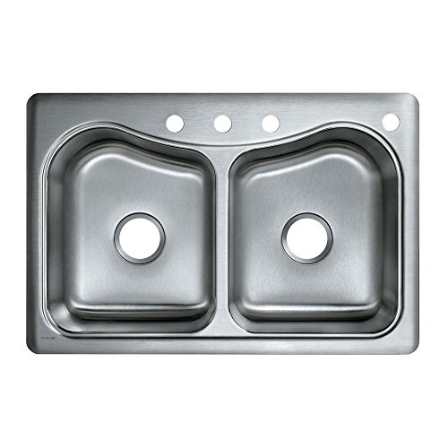 Basin 4 Double (KOHLER K-3369-4-NA Staccato Double-Basin Self-Rimming Kitchen Sink, Stainless Steel)