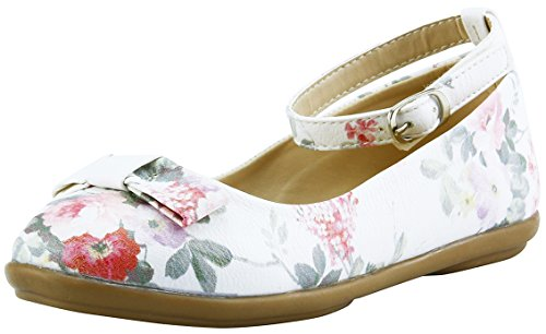 The Doll Maker Side Fringe Ankle Strap Flat - FBA171004A-2 White Floral