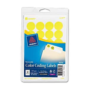 Avery Round Color-Coding Labels 3/4 in, Neon Yellow, 1008/Pack - AVE05470