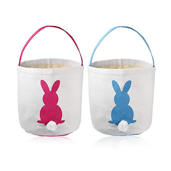 Poen Easter Bunny Bags for Kids Egg Hunt Basket Kid's Bunny Totes Bunny Bag Carry Toys Canvas Bucket 9 x 9.6 Inches