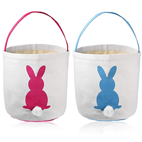 Poen Easter Bunny Bags for Kids Egg Hunt Basket Kid's Bunny Totes Bunny Bag Carry Toys Canvas Bucket 9 x 9.6 -
