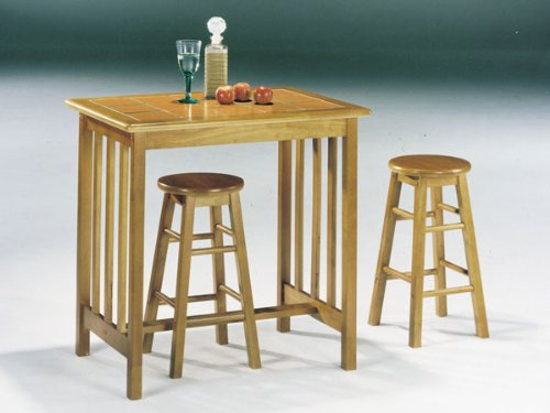 Breakfast Top Table Tile - 3-pc Oak/Terracotta Mission Style Tile Top Breakfast Table Set ACS 20140ot