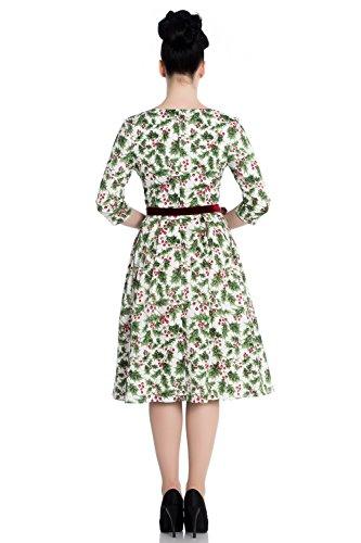 50er Bunny mit Flare Vintage Kleid Retro Stechpalmenbeeren Weiß Berry Hell Holly Weihnachten OadwcxwZIq