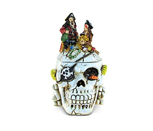 Puzzled Caribbean Pirate Skull Jewelry Box, Intricate & Meticulous Head Sculpture Figurine for Collectible Trinket Accessory Storage Organizer Table Accent - Nautical Themed Home Bar Décor - 4.8 Inch ()