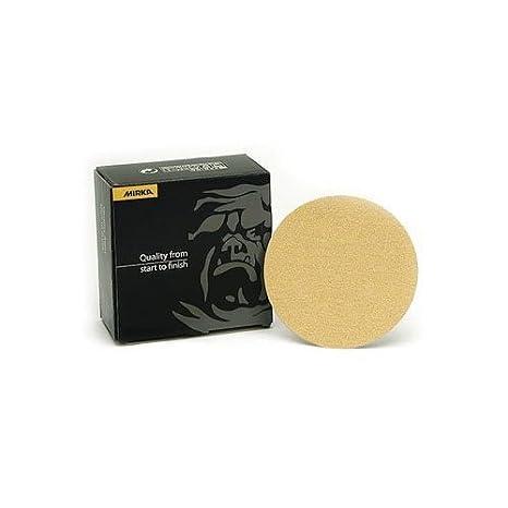 """Mirka 23-612-150 Gold 5/"""" Hook /& Loop Grip Sanding Discs 150 Grit 50//Pack"""