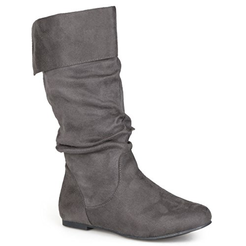 Journee Collection Womens Slouch Mid-Calf Microsuede Boot Grey 7