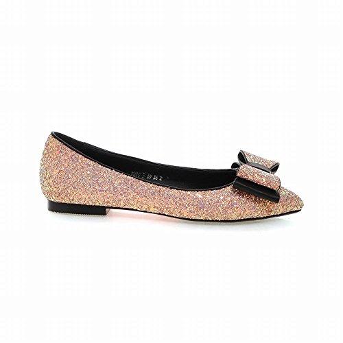 Carolbar Mujeres Bows Shiny Chic Charm Lentejuelas Punta Estrecha Moda Cuff Flats Zapatos De Vestir Rosa