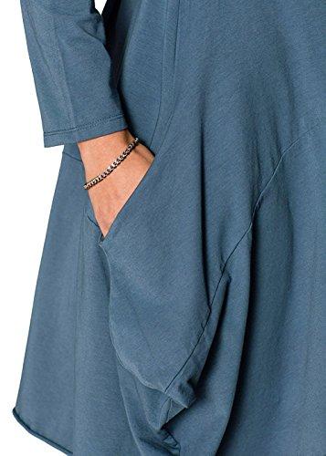 Corta Elegante Maglia Unita Ufficio Blu Blusa Camicia Camicie Sexy Irregolare Minetom Casual Donna Tinta Girocollo Manica Vestito xzqXSwRS1