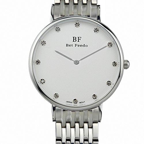BETFEEDO Men's Waterproof Rhinestone Ultra Analog Quartz Classic Dress Wrist Watch with Stainless Steel (Silver) by BETFEEDO