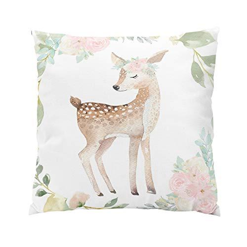 Suklly Boho Deer Woodland Blush Baby Girl Nursery Romantic Hidden Zipper Home Sofa Decorative Throw Pillow Cover Cushion Case 18x18 Inch Square Two Sides Design Printed Pillowcase