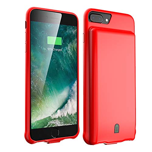 MILE 4500mAh battery case compatible with iPhone 7 8 6s 6 Battery Case Portable Protective Charging Case (4.7 inch) Rechargeable Extended Battery Charger Case (Red)