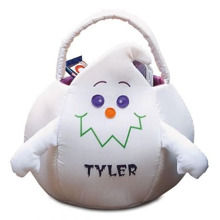 "Lillian Vernon Ghost Personalized Halloween Treat Bag – Large Trick or Treat Tote & Candy Basket for Kids, Polyester, 12.5"" Diameter (at widest) X 11"" Tall"