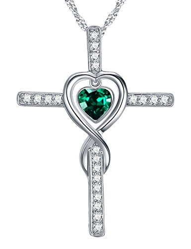 May Birthstone Jewelry Gifts Love Heart Infinity Cross Necklace for Wife for Women Lady Green Emerald Anniversary Birthday Present for Her Sterling Silver Swarovski Pendant and 18