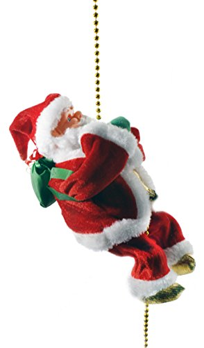 "Haktoys 9"" Climbing Santa Christmas Ornament Decoration Toy with Light and Music"