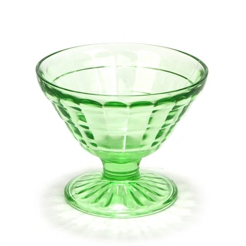 Block Optic Green by Anchor Hocking, Glass Sherbet (Hocking Glass Block Optic)