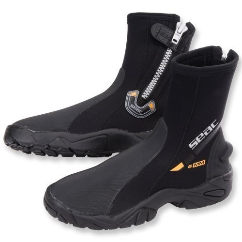 SEAC 6mm Super-Stretch Zippered Hard Sole Dive Boots Booties, Small (7/8) ()