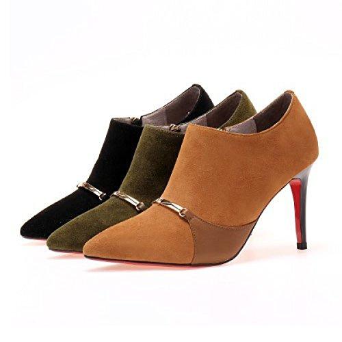 Tacones De Aguja De Las Mujeres Bombas De Gamuza Zapatos De Tacón Alto Partido De Color De Moda Partido De La Oficina De La Oficina Zapatos De La Corte,Green-EU:35/UK:3
