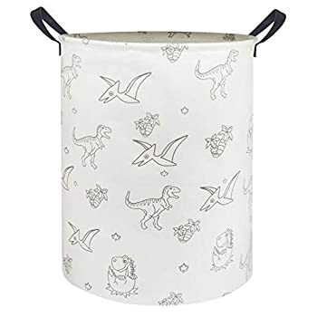 HIYAGON Massive Storage Baskets,Waterproof Laundry Baskets,Collapsible Canvas Basket for Storage Bin for Children Room,Toy Organizer,Dwelling Decor,Child Hamper (Line Dinosaurs)