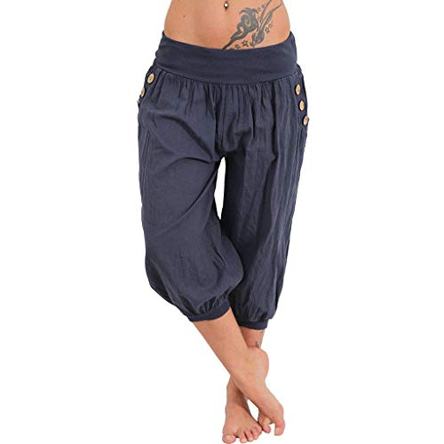 (Pervobs Women Pants, Women Casual Elastic Waist Boho Pants Harem Check Baggy Wide Leg Sports Yoga Capris(XL, Navy))
