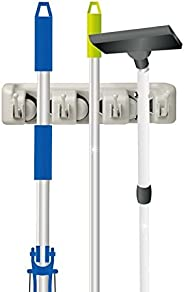 Home-it 13 Mop and Broom Holder, Wall Mounted Garden Tool Rack Organization for General Storage (3-Position),