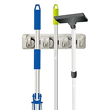 Home-it 13 Mop and Broom Holder, Wall Mounted Garden Tool Rack Organization for General Storage (3-Position), White