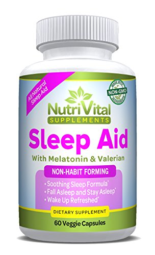 Sleep Aid by NutriVital Supplements, All Natural Sleep Aid, With Melatonin, Valerian, Chamomile & More, Non-Habit Forming, Made in the USA, FDA Registered Facility, Non-GMO, 60 Vegetarian Sleeping Pil