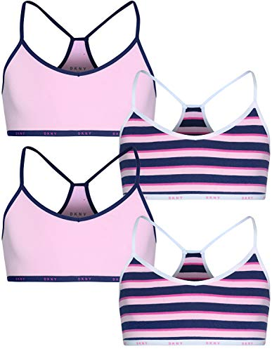 DKNY Girls Cotton/Spandex Racerback Training Sport Bra (4 Pack), Light Pink/Pink, Size Small / 6-7' (Youth Bra Sports Racerback)