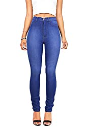 Vibrant Juniors High Waisted Skinny Blue Jeans (1, Blue)