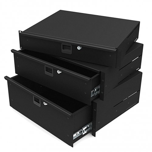 Penn Elcom 2U Aluminium Rack Drawer Black/ DJ / Studio / Lightweight (19' Rack Light)