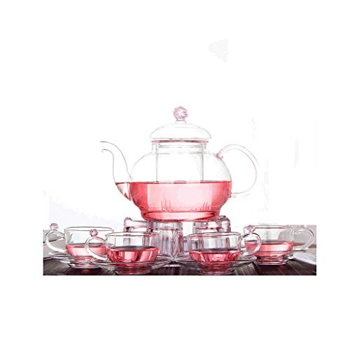 Teapot, Glass Pot Set, Flower Language, Large Capacity 800ml, Crystal Clear, Handmade, Rose, Romantic, Heart-shaped Base, 4 Cups