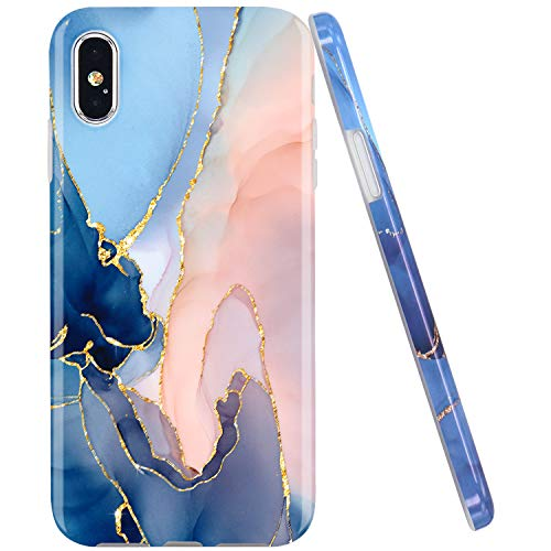 JAHOLAN Compatible iPhone X Case iPhone Xs Gold Glitter Sparkle Purple Marble Design Clear Bumper TPU Soft Rubber Silicone Cover Phone Case
