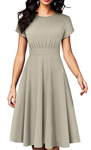 HOMEYEE Women's Short Sleeve Floral Casual Aline Midi Dress A102(6,Gray-Solid Color)