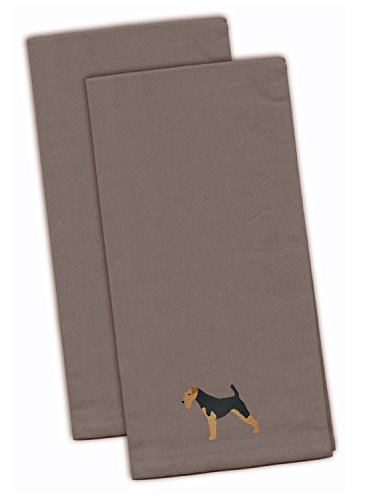 """Caroline's Treasures BB3457GYTWE Airedale Terrier Gray Embroidered Kitchen Towel (Set of 2), 28"""" x 19"""", Multicolor"""