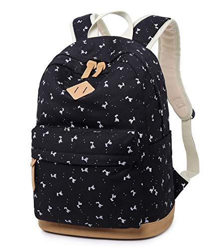 LuckyZ School Backpack Casual Women Backpacks Lightweight Canvas Leather Daykpack Cute Animal Travel Laptop Bag Shoulder Bookbags Deer Black