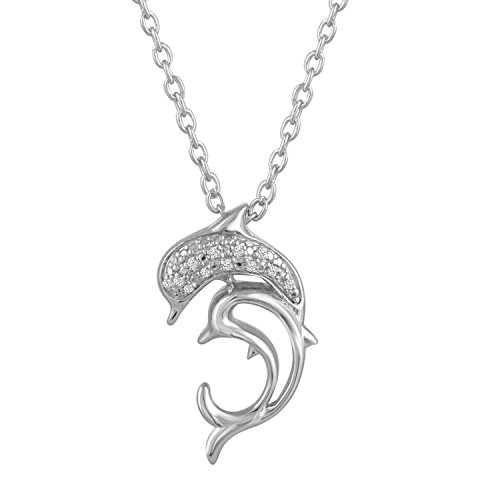 "Diamond Accent Sterling Silver Double Dolphin Pendant, 16""-18"" Adjustable Chain"