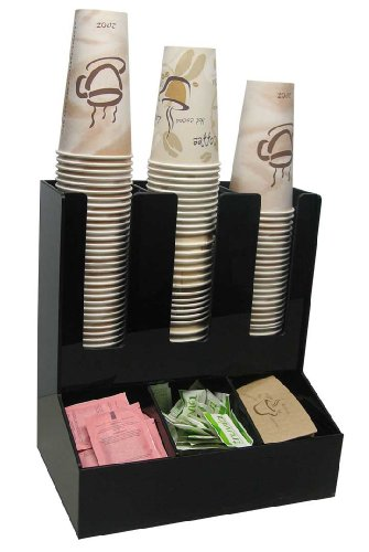 (3 Wide Condiment and Coffee Cup and Lid Dispenser Stirrer, Sugar Cup Caddy Organize and Display Your Coffee Counter with Style)