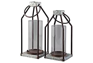 Signature Design by Ashley Diedrick Set of 2 Lanterns-Casual, Gray/Black