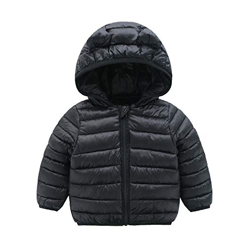 (CECORC Winter Coats for Kids with Hoods (Padded) Light Puffer Jacket for Outdoor Warmth, Travel, Snow Play | Little Girls, Little Boys | Baby, 6-12 Months, Black)