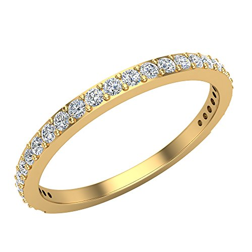 Diamond Wedding Band matching to Dainty Flower Cluster Diamond Halo Engagement Ring 18K Yellow Gold 0.31 ct tw (Ring Size 6.5) 18k Yellow Gold Diamond Match