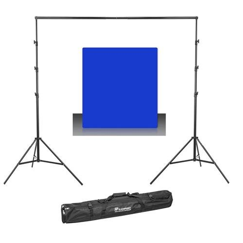 (Westcott Photo Basics 9' x 10' Blue Screen Cotton Background - Bundle with Flashpoint 13' Background Support System)