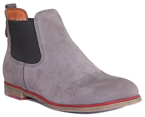 Justin Reece Womens Nubuck Leather Chelsea Boots Ankle Low Heel Darkgray epYUC1