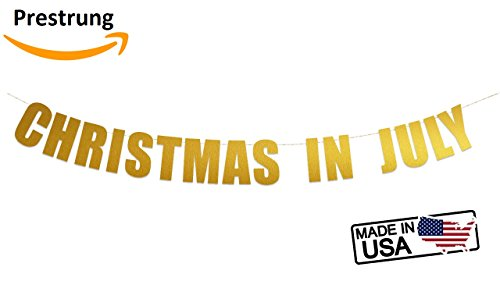 Christmas In July Banner Sign | Merry Christmas in July Party Banner Hanging Letter Sign (Gold Metallic) -