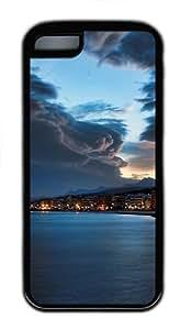 iPhone 5C Case, iPhone 5C Cases -Shoreline at night TPU Rubber Soft Case Back Cover for iPhone 5C ¨CBlack