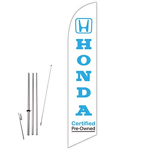 Cobb Promo Feather Flag (White) for Honda Certified Pre-Owned Car Dealers with Complete 15ft Pole kit and Ground Spike